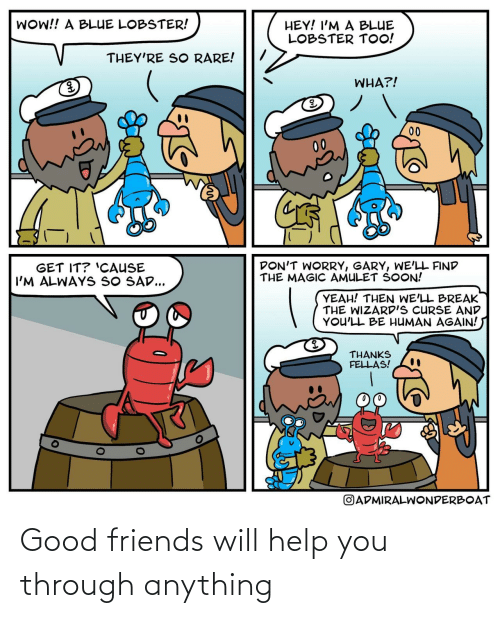 curse: WOW!! A BLUE LOBSTER!  HEY! I'M A BLUE  LOBSTER TOO!  THEY'RE SO RARE!  WHA?!  00  00  DON'T WORRY, GARY, WE'LL FIND  THE MAGIC AMULET SOON!  GET IT? 'CAUSE  I'M ALWAYS SO SAD...  YEAH! THEN WE'LL BREAK  THE WIZARD'S CURSE AND  YOU'LL BE HUMAN AGAIN!  THANKS  FELLAS!  OADMIRALWONDERBOAT Good friends will help you through anything