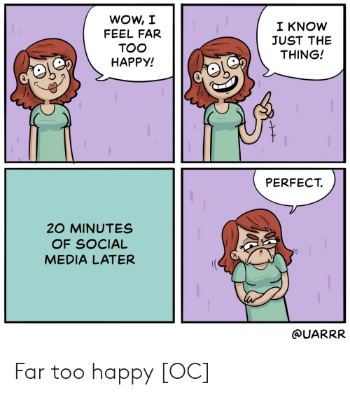 Social Media, Wow, and Happy: WOW, JI  FEEL FAR  TOO  HAPPY!  I KNOW  JUST THE  THING!  PERFECT  20 MINUTES  OF SOCIAL  MEDIA LATER  QUARRR Far too happy [OC]