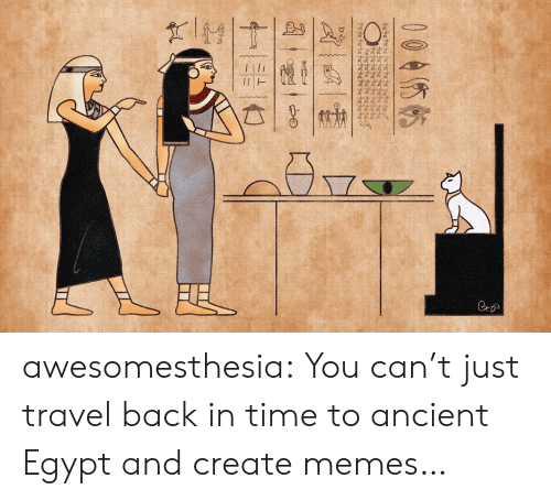 in time: wwww.  Cro  004你帖  十一张一亡 awesomesthesia:  You can't just travel back in time to ancient Egypt and create memes…