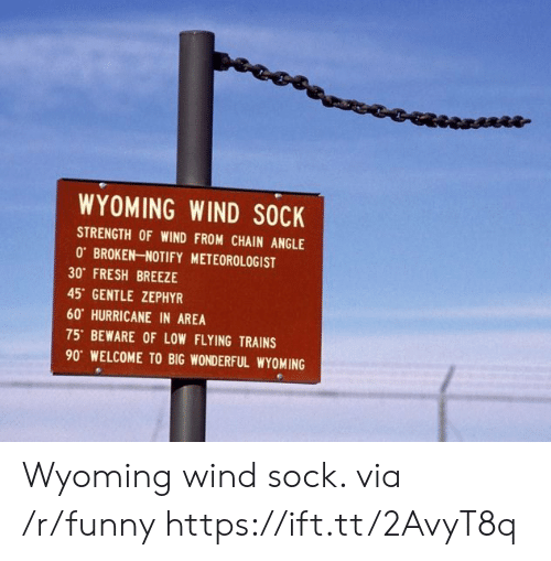 Fresh, Funny, and Hurricane: WYOMING WIND SOCK  STRENGTH OF WIND FROM CHAIN ANGLE  0 BROKEN-NOTIFY METEOROLOGIST  30 FRESH BREEZE  45 GENTLE ZEPHYR  60 HURRICANE IN AREA  75' BEWARE OF LOW FLYING TRAINS  90 WELCOME TO BIG WONDERFUL WYOMING Wyoming wind sock. via /r/funny https://ift.tt/2AvyT8q