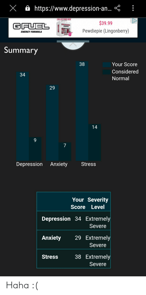 Energy, Anxiety, and Depression: X ahttps://www.depression-a..  $39.99  GFUEL  Pewdiepie (Lingonberry)  ENERGY FORMULA  Summary  38  Your Score  Considered  34  Normal  14  7  Depression Anxiety  Stress  Your Severity  Score Level  Depression 34 Extremely  Severe  29 Extremely  Anxiety  Severe  38 Extremely  Stress  Severe  29 Haha :(