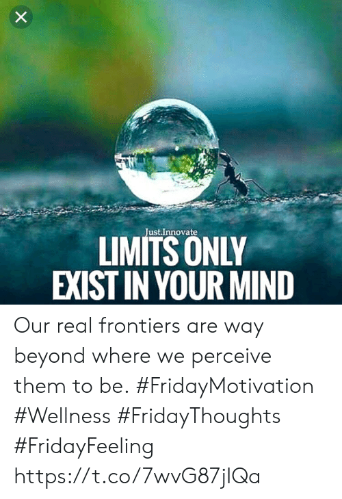 Mind, Beyond, and Them: X  Just.Innovate  LIMITS ONLY  EXIST IN YOUR MIND Our real frontiers are way beyond where we perceive them to be.  #FridayMotivation #Wellness #FridayThoughts #FridayFeeling https://t.co/7wvG87jIQa