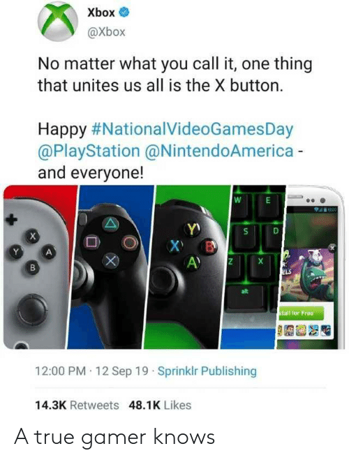 gamer: Xbox O  @Xbox  No matter what you call it, one thing  that unites us all is the X button.  Happy #NationalVideoGamesDay  @PlayStation @NintendoAmerica -  and everyone!  ELS  alt  stall for Free  12:00 PM 12 Sep 19 · Sprinklr Publishing  14.3K Retweets 48.1K Likes  DI A true gamer knows
