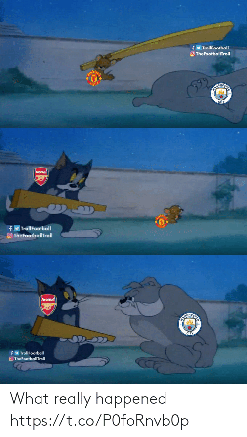United: y TrollFootball  O TheFootballTroll  UNITED  EICHERITS  CITY   Arsenal  TrollFootball  TheFootballTrolI   Arsenal  CITY  TrollFootball  O TheFootballTroll What really happened https://t.co/P0foRnvb0p