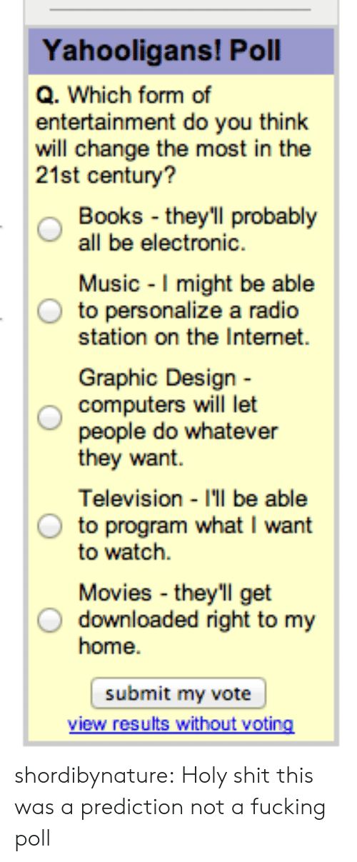 Personalize: Yahooligans! Poll  Q. Which form of  entertainment do you think  will change the most in the  21st century?  Books they'll probably  all be electronic  Music I might be able  to personalize a radio  station on the Internet  Graphic Design -  computers will let  people do whatever  tney want.  Television I'll be able  to program what I want  to watch.  Movies they'll get  O downloaded right to my  home  submit my vote shordibynature: Holy shit this was a prediction not a fucking poll