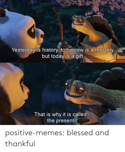 History: Yesterday is history, tomorrow is a mystery,  but today is a gift.  That is why it is called  the present. positive-memes:  blessed and thankful