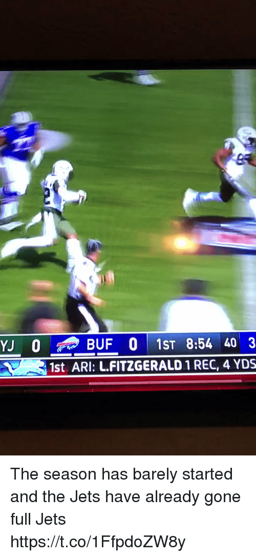 arie: YJ BUF 0 1ST 8:54 40 3  1st, ARI: L.FITZGERALD 1 REC, 4 YDS The season has barely started and the Jets have already gone full Jets https://t.co/1FfpdoZW8y