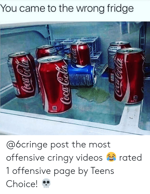 Memes, Videos, and 🤖: You came to the wrong fridge @6cringe post the most offensive cringy videos 😂 rated 1 offensive page by Teens Choice! 💀