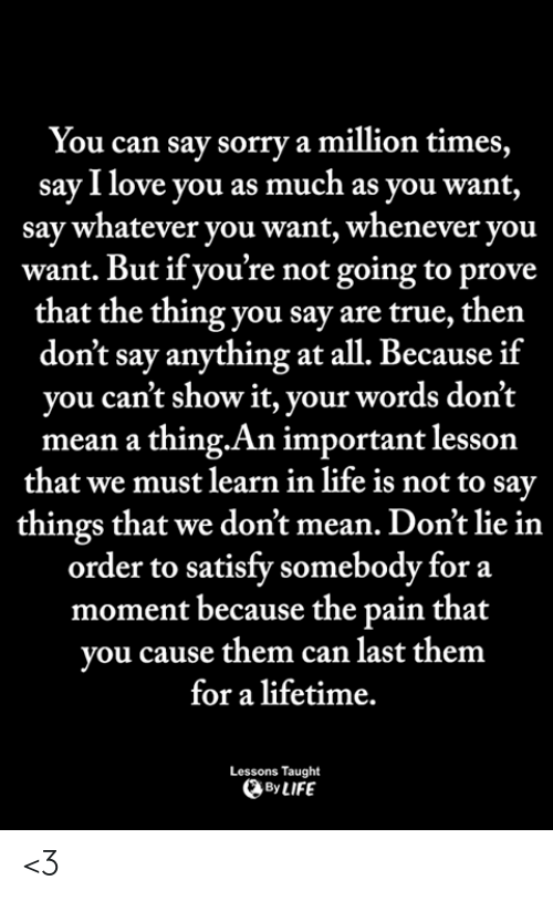 Life, Love, and Memes: You can say sorry a million times,  say I love you as much as you want,  say whatever you want, whenever you  want. But if you're not going to prove  that the thing you say are true, ther  don't say anything at all. Because if  you can't show it, your words don't  mean a thing.An important lesson  that we must learn in life is not to say  things that we don't mean. Don't lie in  order to satisfy somebody for a  moment because the pain that  vou cause them can last them  for a lifetime.  Lessons Taught  By LIFE <3