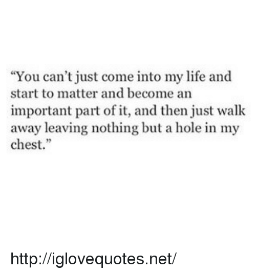 """Life, Http, and Net: """"You can't just come into my life and  start to matter and become an  important part of it, and then just walk  away leaving nothing but a hole in my  chest. http://iglovequotes.net/"""