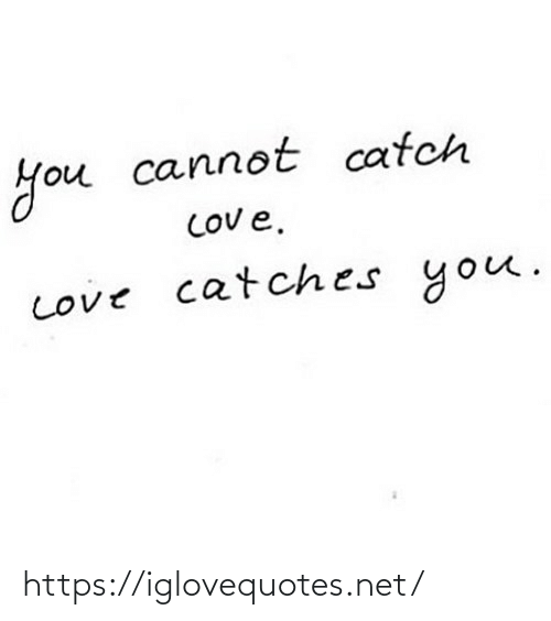 Cannot: you  COv e.  Love catches you.  you cannot catch https://iglovequotes.net/