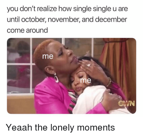 Funny, Single, and How: you don't realize how single single u are  until october, november, and december  come around  me  me  IN Yeaah the lonely moments