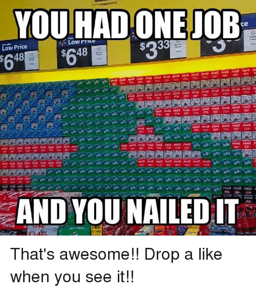 Memes, When You See It, and Awesome: YOU HAD ONEJOB-  ce  Low Price  48  48  AND YOU NAILED IT That's awesome!! Drop a like when you see it!!