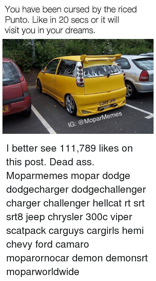 Ass, Memes, and Camaro: You have been cursed by the riced  Punto. Like in 20 secs or it will  visit you in your dreams.  26  IG: @MoparMemes I better see 111,789 likes on this post. Dead ass. Moparmemes mopar dodge dodgecharger dodgechallenger charger challenger hellcat rt srt srt8 jeep chrysler 300c viper scatpack carguys cargirls hemi chevy ford camaro moparornocar demon demonsrt moparworldwide