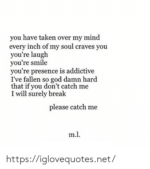 fallen: you have taken over my mind  every inch of my soul craves you  you're laugh  you're smile  you're presence is addictive  I've fallen so god damn hard  that if you don't catch me  I will surely break  please catch me  m.l https://iglovequotes.net/