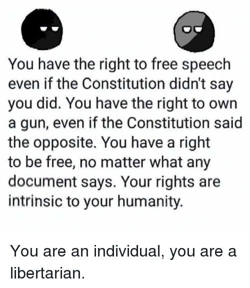 Libertarian: You have the right to free speech  even if the Constitution didn't say  you did. You have the right to own  a gun, even if the Constitution said  the opposite. You have a right  to be free, no matter what any  document says. Your rights are  intrinsic to your humanity. You are an individual, you are a libertarian.