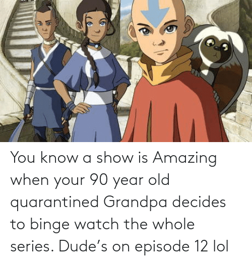 Amazing: You know a show is Amazing when your 90 year old quarantined Grandpa decides to binge watch the whole series. Dude's on episode 12 lol