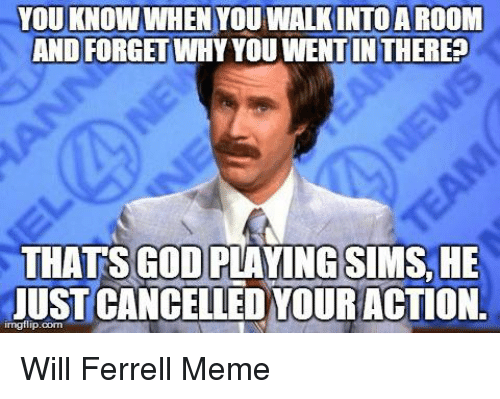 will ferrell memes: YOU KNOWWHEN YOUWALKINTOAROOMI  AND FORGET WHYYOUWENTIN THERE?  THATS GOOD PLAYING SIMS, HE  JUST CANCELLED YOUR  ACTION. Will Ferrell Meme