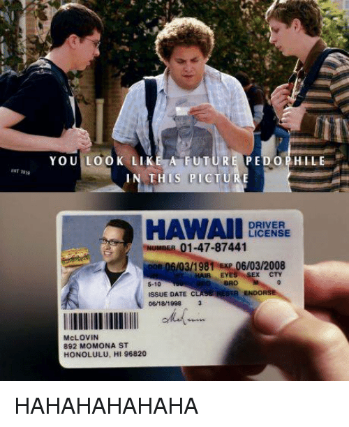 Pedophillic: YOU LOOK LIKE A FUTUR  PEDOPHIL  IN THIS PICT  HAWAII  DRIVER  LICENSE  NUMBER 01-47-87441  oon /03/19  06/03/2008  EYE  CTY  5-10  ISSUE DATE  06/18/1998  lllllllllllllll  McLOVIN  892 MOMONA ST  HONOLULU, HI 96820 HAHAHAHAHAHA