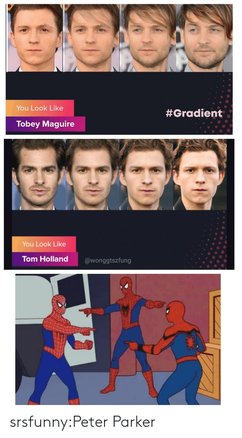 Target, Tobey Maguire, and Tumblr: You Look Like  #Gradient  Tobey Maguire  You Look Like  Tom Holland  @wonggtszfung srsfunny:Peter Parker