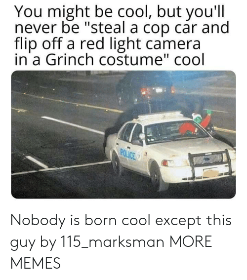 "Dank, The Grinch, and Memes: You might be cool, but you'll  never be ""steal a cop car and  flip off a red light camera  in a Grinch costume"" cool  POLICE S Nobody is born cool except this guy by 115_marksman MORE MEMES"