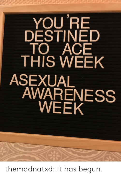 Awareness: YOU 'RE  DESTINED  TO ACE  THIS WEEK  ASEXUAL  AWARENESS  WEEK themadnatxd:  It has begun.
