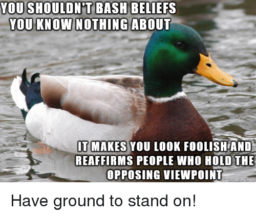Who, Bash, and You: YOU SHOULDN'T BASH  YOU KNOW NOTHINGABOUT  BELIEFS  T MAKES YOU LOOK FOOLISH AND  REAFFIRMS PEOPLE WHO HOLD THE  OPPOSING VIEWPOINT Have ground to stand on!
