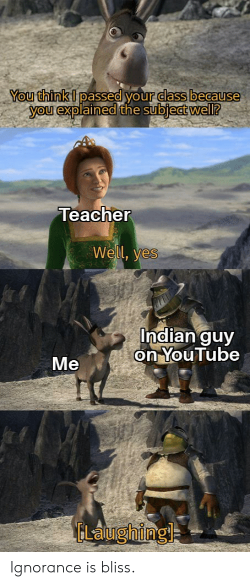 Ignorance: You think I passed your dass because  you explained the subject well?  Teacher  Well, yes  Indian guy  on YouTube  Me  ELaughing Ignorance is bliss.