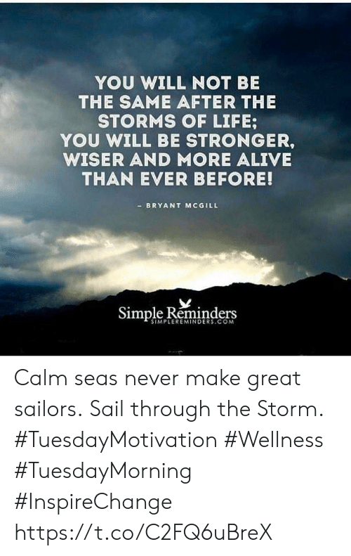 Alive, Life, and Never: YOU WILL NOT BE  THE SAME AFTER THE  STORMS OF LIFE  YOU WILL BE STRONGER,  WISER AND MORE ALIVE  THAN EVER BEFORE!  BRYANT MCGILL  Simple Reminders  SIMPLEREMINDERS.COM Calm seas never make great sailors. Sail through the Storm.  #TuesdayMotivation #Wellness  #TuesdayMorning #InspireChange https://t.co/C2FQ6uBreX