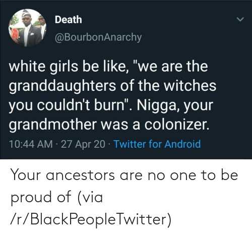 No One: Your ancestors are no one to be proud of (via /r/BlackPeopleTwitter)