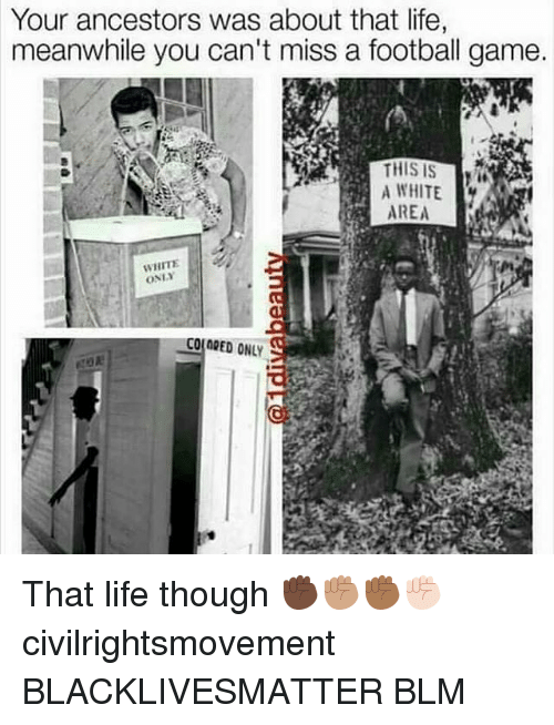 Blm: Your ancestors was about that life,  meanwhile you can't miss a football game.  A WHITE  AREA  WHITE  ONLY  COLORED ONLY That life though ✊🏿✊🏽✊🏾✊🏻 civilrightsmovement BLACKLIVESMATTER BLM