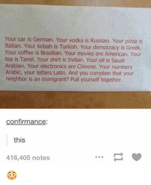 Funny, Movies, and Pizza: Your car is German. Your vodka is Russian. Your pizza is  Italian. Your kebab is Turkish. Your democracy is Greek.  Your coffee is Brazilian. Your movies are American. Your  tea is Tamil. Your shirt is Indian. Your oil is Saudi  Arabian. Your electronics are Chinese. Your numbers  Arabic, your letters Latin. And you complain that your  neighbor is an immigrant? Pull yourself together.  confirmance:  this  416,405 notes 😳