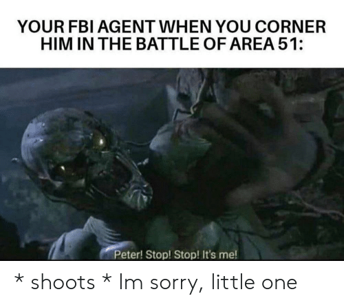 Little One: YOUR FBI AGENT WHEN YOU CORNER  HIM IN THE BATTLE OF AREA 51:  Peter! Stop! Stop! It's me! * shoots * Im sorry, little one