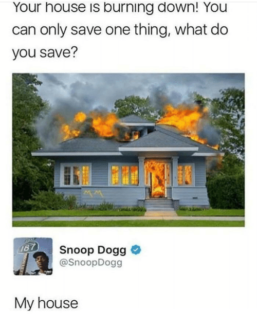 My House, Snoop, and Snoop Dogg: Your house is burning down! You  can only save one thing, what do  you save?  Snoop Dogg >  @SnoopDogg  My house