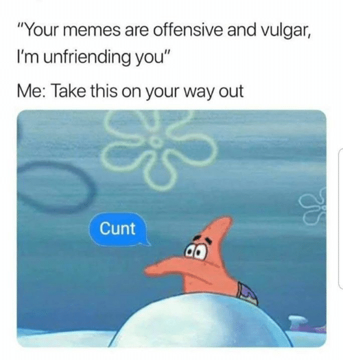 "Memes, Cunt, and Dank Memes: ""Your memes are offensive and vulgar,  I'm unfriending you""  Me: Take this on your way out  Cunt"
