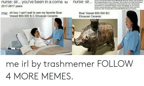 Renowned: you're in luck because Boar Vessel 600-500 BC Etruscan Ceramic can be found in  nurse: sir... you've been in a coma for  nurse: sir..  the Cleveland Museum of Art in Cleveland Ohio located in the Wade Park District,  in the University Circle neighborhood on Cleveland's east side. Internationally  renowned for its substantial holdings of Asian and Egyptian art, the museum  houses a diverse permanent collection of more than 45,000 works of art from  around the world. including Boar Vessel 600-500 BC Etruscan Ceramic.  2517-2617 years  me: oh boy I can't wait to see my favorite Boar  Vessel 600-500 B.C Etruscan Ceramic  Boar Vessel 600-500 BC  Etruscan Ceramic me irl by trashmemer FOLLOW 4 MORE MEMES.