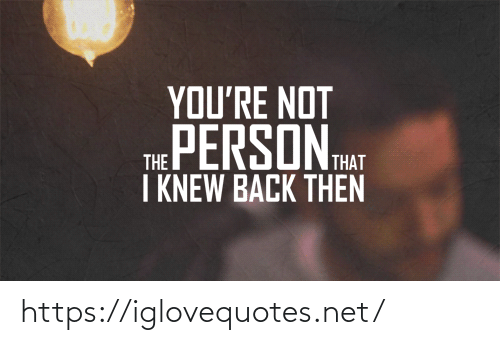 Back, Net, and Hat: YOU'RE NOT  THE PERSON HAT  I KNEW BACK THEN https://iglovequotes.net/