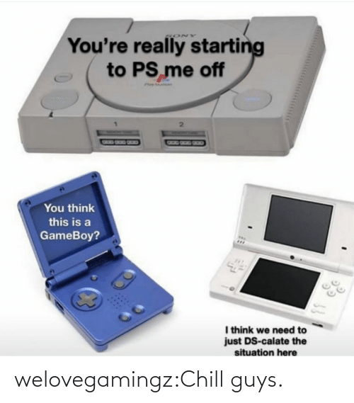 We Need: You're really starting  to PS me off  SONY  Phay ar  You think  this is a  GameBoy?  I think we need to  just DS-calate the  situation here welovegamingz:Chill guys.