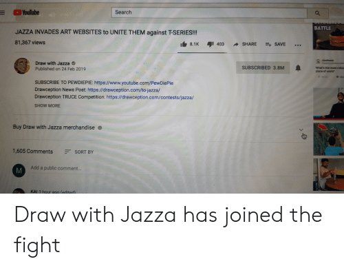 YouTube Search BATTLE JAZZA INVADES ART WEBSITES to UNITE