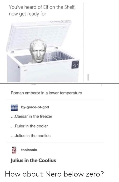 "Elf, Elf on the Shelf, and God: You've heard of Elf on the Shelf,  now get ready for  Sull  -15""  Roman emperor in a lower temperature  by-grace-of-god  ...Caesar in the freezer  ...Ruler in the cooler  ....Julius in the coolius  tooiconic  Julius in the Coolius How about Nero below zero?"