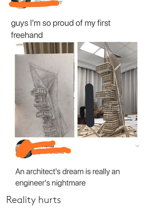 So Proud: yr  guys I'm so proud of my first  freehand  An architect's dream is really an  engineer's nightmare Reality hurts