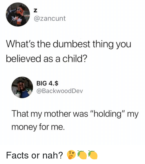 """Facts, Money, and Dank Memes: @zancunt  What's the dumbest thing you  believed as a child?  BIG 4.$  @BackwoodDev  That my mother was """"holding"""" my  money for me. Facts or nah? 🤔🍋🍋"""