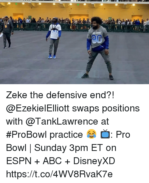 Abc, Espn, and Memes: Zeke the defensive end?!  @EzekielElliott swaps positions with @TankLawrence at #ProBowl practice 😂  📺: Pro Bowl | Sunday 3pm ET on ESPN + ABC + DisneyXD https://t.co/4WV8RvaK7e