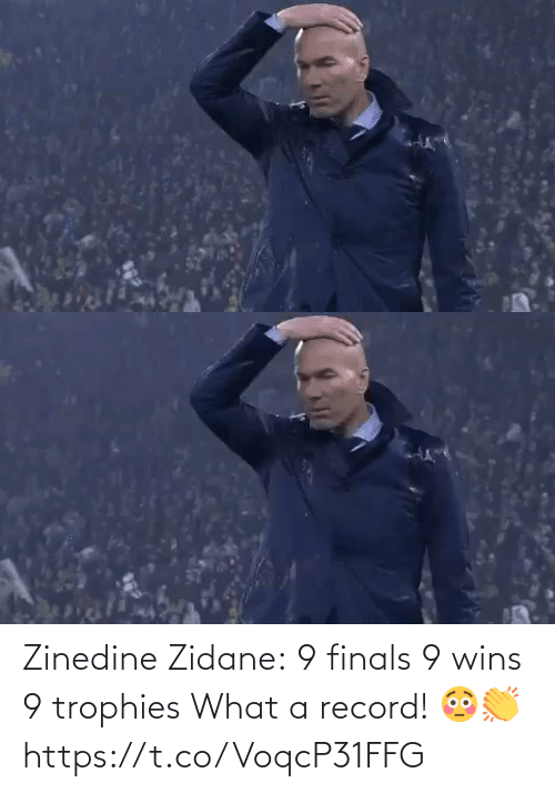Record: Zinedine Zidane:  9 finals 9 wins 9 trophies  What a record! 😳👏 https://t.co/VoqcP31FFG