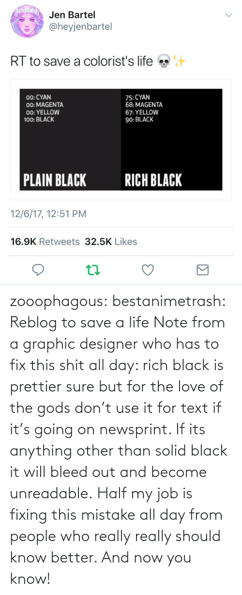 mistake: zooophagous:  bestanimetrash: Reblog to save a life  Note from a graphic designer who has to fix this shit all day: rich black is prettier sure but for the love of the gods don't use it for text if it's going on newsprint. If its anything other than solid black it will bleed out and become unreadable. Half my job is fixing this mistake all day from people who really really should know better. And now you know!
